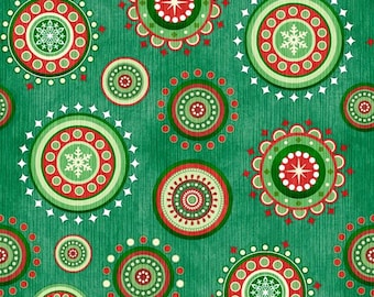 Quilting Treasures - Santa Coming to Town - Medallions - Green - Fabric by the Yard 24618-G