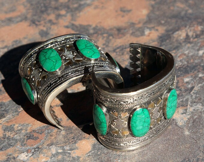 BRACELET Pair (2pcs) Turkoman Tribal Real MALACHITE Gold Plated BellyDance 502a11