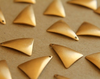 12 pc. Raw Brass Domed Triangle Dangles: 12mm by 17mm - made in USA | RB-150