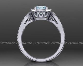 Aquamarine Engagement Ring, Halo 14k White Gold Diamond Filigree Wedding Ring Re00012aq