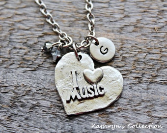 Music Necklace, Music Jewelry, I Love Music, Music teacher Gift, Musician Gift