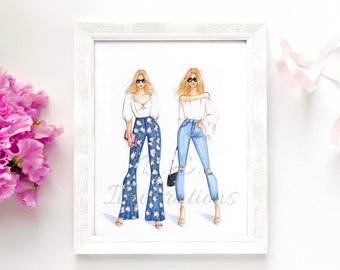Fashion Besties (personalized illustration print/ semi-custom illustration print/ lifestyle art print/ BFF drawing print/ best friends gift)