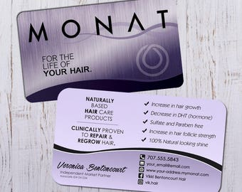Monat Business Cards - Silver Purple Design with Purple Back - Durable 16pt - Rich Matte Finish -PRINTED and SHIPPED directly to YOU!