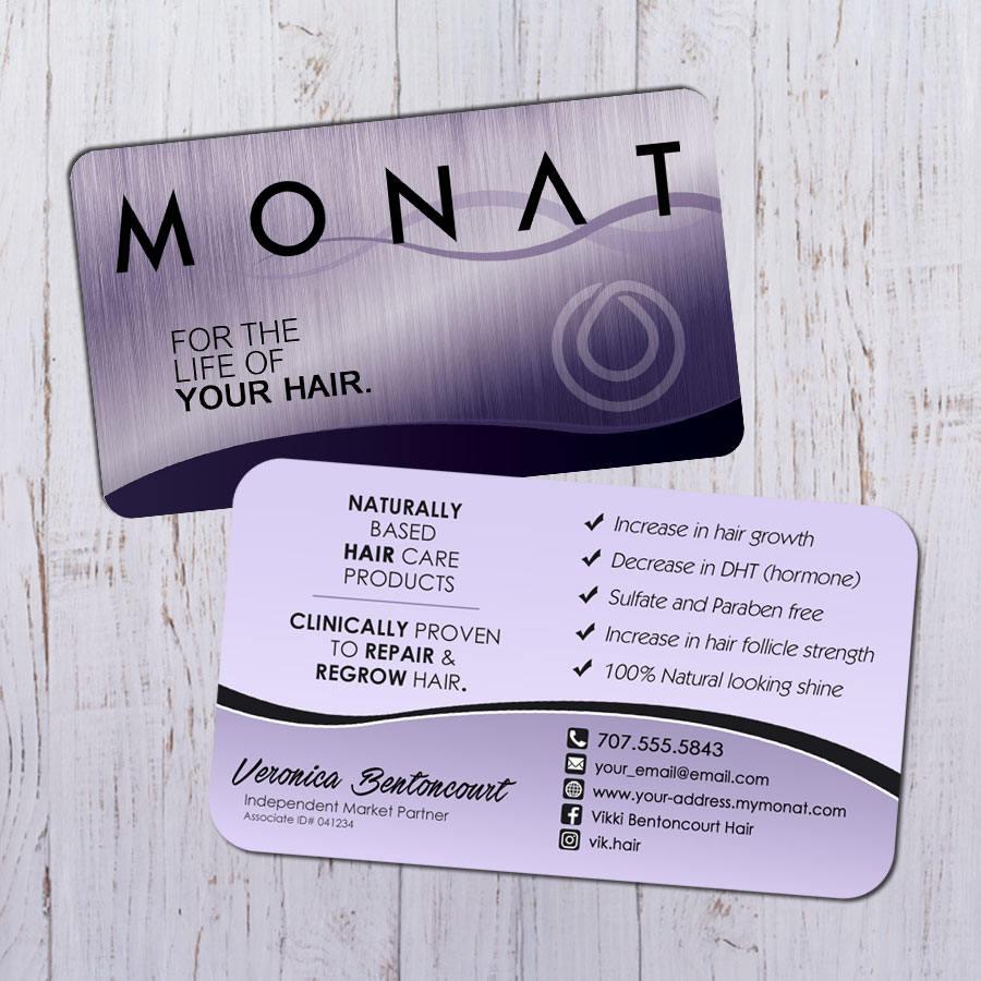Monat Business Cards Silver Purple Design with Purple Back