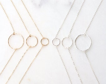 KARMA Necklace • Hammered Ring Necklace •  Circle Necklace, Hammered Eternity Necklace, Delicate Circle Necklace, Dainty Necklace, Gift