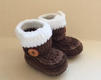 Brown baby booties, baby shoes, crochet baby shoes, crib shoes, baby, baby footwear, booties, baby slippers, crochet