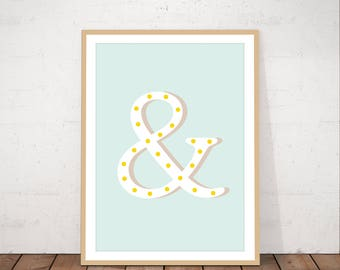 Ampersand wall art, instant download, printable, minimalist art