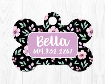 Dog Tag for Small Dogs Dog Tags Personalized Dog Tags for Dogs Dog Tag for Collar Tag for Dogs Dog ID Tag Custom Pet ID Tag Black Purple