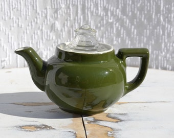 Vintage Green Hall Small Teapot | Hall China Teapot | Green Teapot | Single Serve Teapot | Retro Camper Teapot | Boston Ware | Olive Green