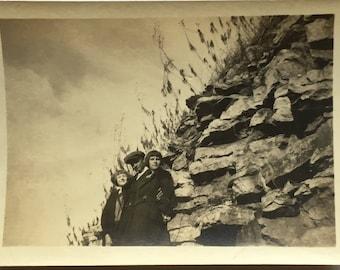 "Vintage Photo ""The Cliff Explorers"" Snapshot Antique Black & White Photograph Paper Found Ephemera Vernacular Interior Design Mood - 80"