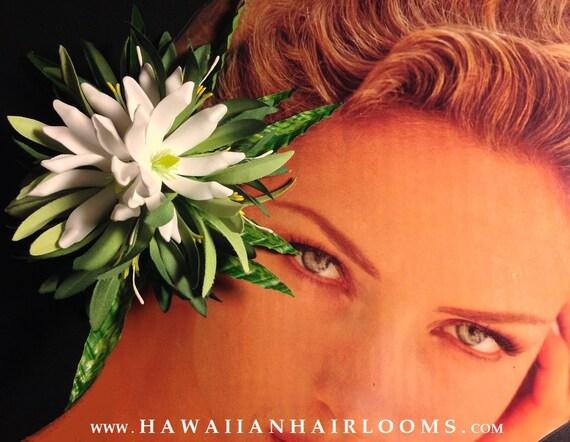 TROPISCHE HAARSPANGE. Hawaii-Blume Haar Tiare weiße Blumen