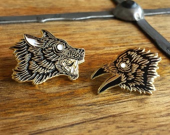 Order of the Moon, Wolf and Raven Enamel Lapel Pin Set | High Polish, Enamel & Gold Plated