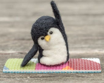 Needle Felted Penguin - Yoga