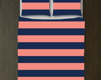 Custom Rugby Striped Duvet Bedding Set-Navy Blue and Coral-Customize Colors You Want-Daybed-Twin XL-Full/Queen-King-Preppy Home Decor-Size