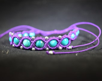 Purple Macrame Beaded Bracelet with Turquoise Accents