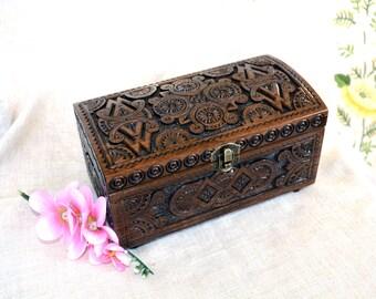 Jewelry box Ring box Wood box Wooden box Wedding box Lock box Tarot box Ring jewelry box Jewelry organizer Wood carving Wooden jewelry B16