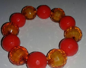 Orange chunky beaded bracelet
