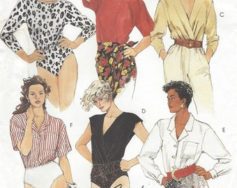 1990s Womens Bodysuits Panty for Stretch Knits Only Neckline & Sleeve Variations McCalls Sewing Pattern 5143 Size 14 16 18 Bust 36 38 40 FF