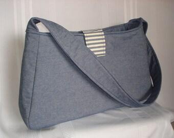 Large Denim Bag, Diaper Bag, Sling Bag, Cross Body Bag, Nautical bag, Shoulder Bag, Extra Large Purse, Tote Bag, Denim,