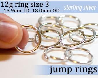 5 pcs 12g ring shank US size 3 sterling silver jump rings 12gsize3 jumprings 925 links