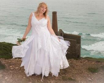White bohemian wedding dress; fairytale handfasting dress; fairy ball gown, boho prom dress, beautiful adult baptism gown