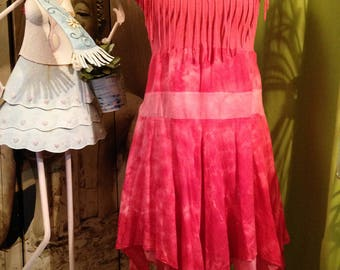 Pink tye dye fringe and Bohemian dress T 38-40 style scarf