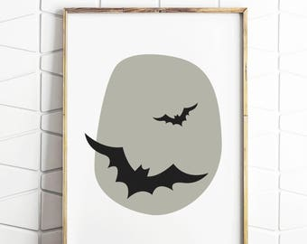bat wall print, bat art print, bat art, bat cave sign, bat decor, bat gifts, bat lovers, bat illustration, bat prints, digital download