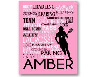 Girls Lacrosse Typography Poster Print, Lacrosse Canvas, Lacrosse Team Gift, Girls Lacrosse Art, Girls Lacrosse Gift, Lacrosse Coach Art
