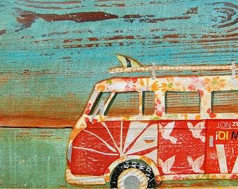 BEACH art PRINT or CANVAS vintage volkswagen vw van bus coastal ocean wall home decor summer gift for her him Santa Cruz painting, All Sizes