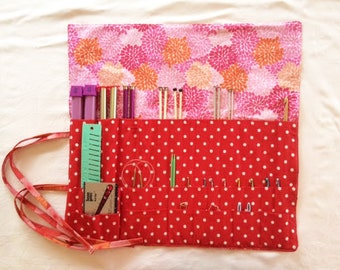 Roll Up Knitting Needle Case, Knitting Case, Floral Knitting Case, Red Knitting Case, Knitting Needle Organizer, Knitter's Gift
