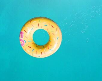 Swimming Pool Float Digital Backdrop/Digital Background Yellow and Blue Baby/Newborn/Children
