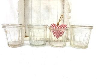 Set 4 Antique Glass Jam jar, clear glass pot, French jam pot, pot à confiture, glass collection, preserving jar, French vintage jelly jar