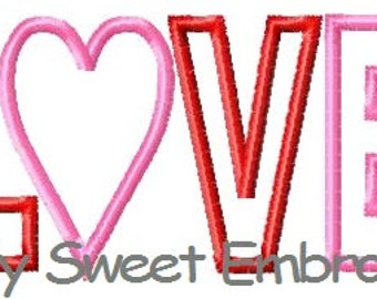 LOVE Machine Embroidery Applique Design