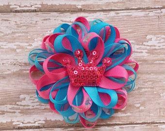 Aqua and Pink Hair Bows, Pink and Aqua Hair Bows, Pink and Aqua Crown Hair Bows, Crown Hair Bows, Blue and Pink Hair Bows, Layer Loopy Bows.