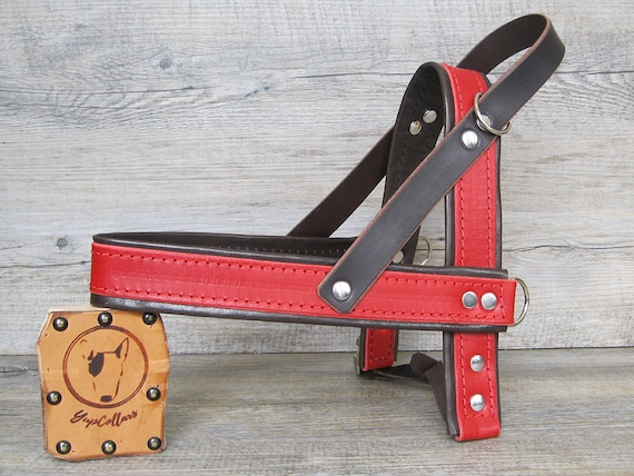 Red Leather Dog Harness, Ultra Comfort Dog Harness for Small and Large Dogs, Handmade Soft Dog Harness, Easy Walk Dog Harness, Made in Italy