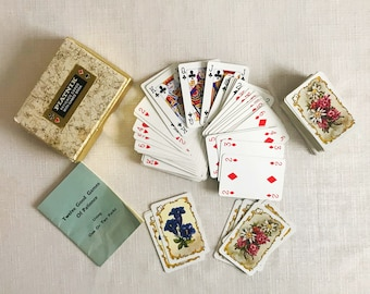 Vintage small playing cards flowers gallery boxed playing cards gift for card player for father collectable cards Austrian cards Piatnik