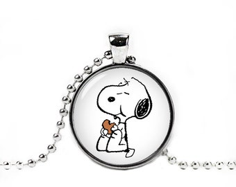 Snoopy eating a Cookie Necklace Snoopy Pendant Snoopy Jewelry Snoopy Necklace