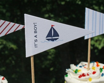 Printable Nautical Sailboat Baby Shower Cupcake Flags PDF File