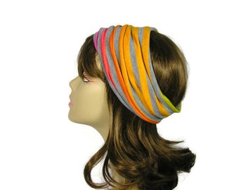 Rainbow Head Wrap Neon Rainbow Head Wrap Rainbow Hair Wrap Rainbow Jersey Headband Cotton Head Wrap Womens Workout Gear