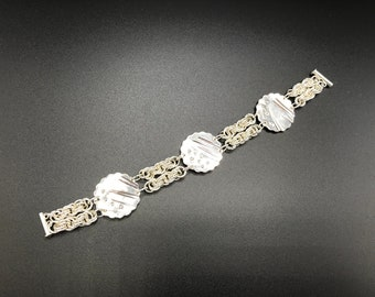 Double Strand Chain Maille and Fine SIlver Bracelet
