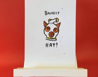 Fantastic Mr Fox Bandit Hat A5 Lino Print