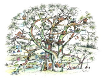 """Tree house, Tree of Heart, whimsy, family, children, tree, adventure, Pen & Ink and Watercolor, """"Tree of Heart"""" (Reproduction)"""