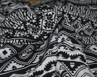 "1 yard Black/White Tribal Stripe Rayon Challis Fabric 54"" Wide"