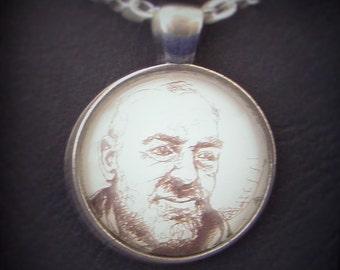 Saint Padre Pio Portrait Glass Necklace Pendant - Jewellery Jewelry Gift Present