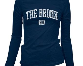 Women's Bronx 718 Long Sleeve Tee - S M L XL 2x - Ladies' Bronx T-shirt, New York City, NYC - 3 Colors
