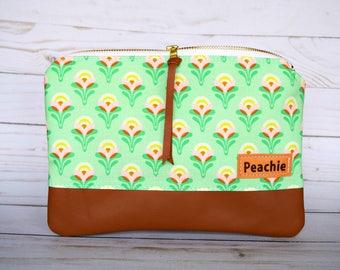 Ready to ship floral clutch, genuine leather clutch, large clutch, floral bag, genuine leather bag, zipper clutch, women clutch, tulips