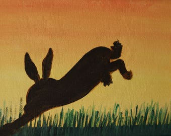 mad march hare, acrylic on canvas board