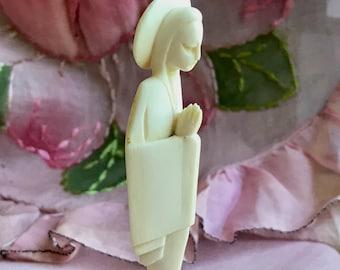 Vintage Madonna figurine statue hand carved sculpture on wood base religious figurine Virgin Mary figurine miniature figurine