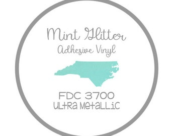 "12x12"" Mint FDC 3700 Ultra Metallic Glitter Adhesive Vinyl Permanent Outdoor Vinyl Oracal 951, Oracal 651 Equivalent FDC 3700"