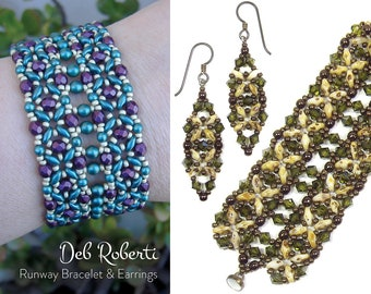 Runway Bracelet & Earrings beaded pattern tutorial by Deb Roberti